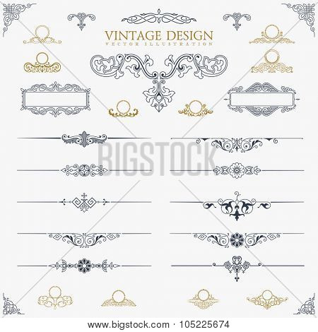 Baroque Set of vintage decor elements. Floral calligraphic ornaments and frames. Retro Style design for Invitations, Banners, Posters, Placards, Border and Logotypes.