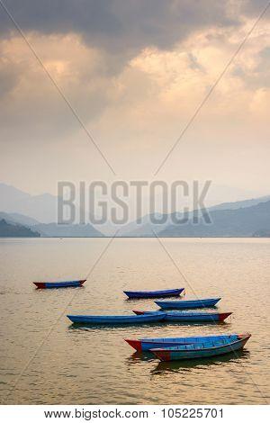 Sunset on Phewa Lake in Pokhara, Nepal
