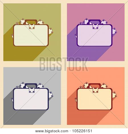 Flat with shadow concept icon case with money