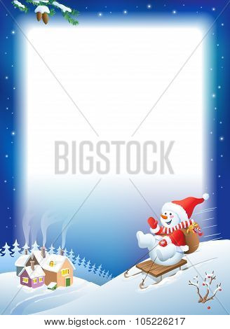 Vector Christmas Background. Snowman On Sled With Gifts.