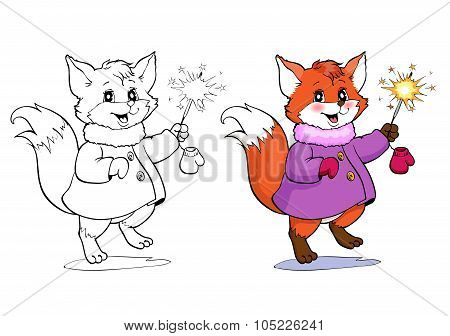 Coloring Book Or Page. Fox In A Coat.