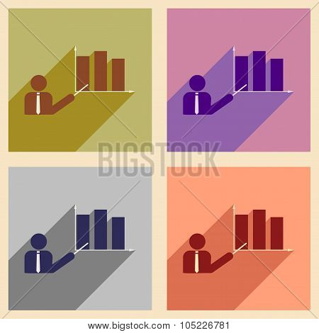 Flat with shadow icon concept human and economic graph