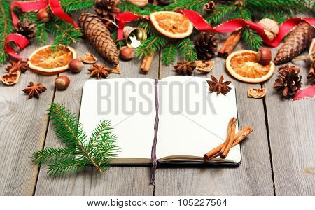 Christmas Decoration With Fir Tree, Oranges, Cones, Spices