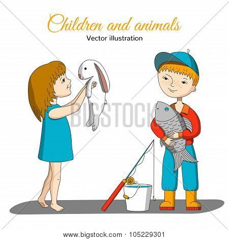 Girl With Rabbit And Boy With Fish.