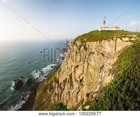 Lighthouse building on beautiful cliffs near the sea landscape, Portugal