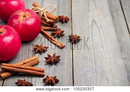 Autumn Apples With Spices, Star Anise And Cinnamon Sticks