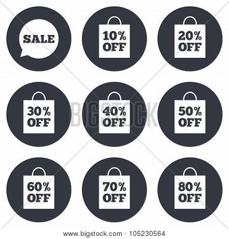 Sale discounts icons. Special offer signs.