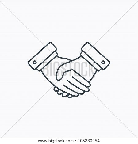 Handshake icon. Deal agreement sign.