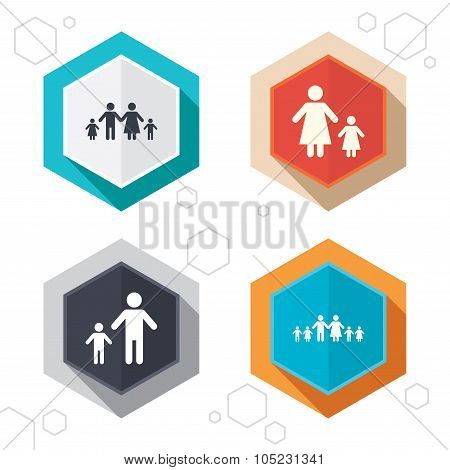 Family with two children sign. Parents and kids.