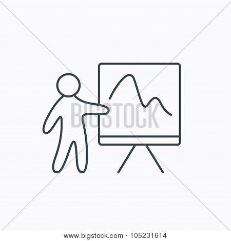 Presentation icon. Statistics chart sign.