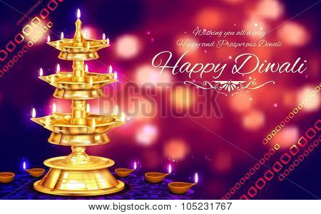 illustration of golden diya stand on abstract Diwali background