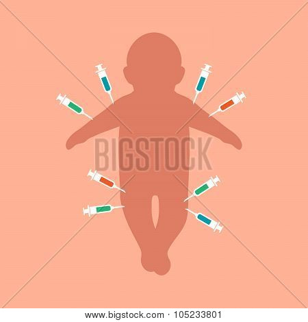 child vaccination, baby injection,