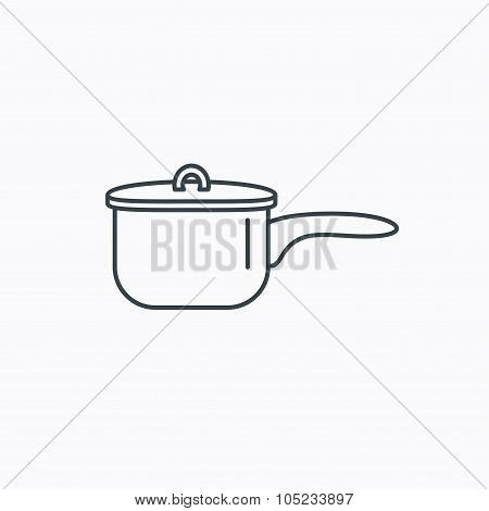 Saucepan icon. Cooking pot or pan sign.