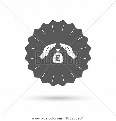 Protection money sign icon. Hands protect cash.