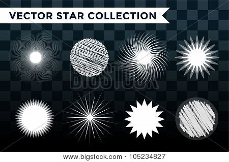 Sun burst, star or snowflakes logo icon set