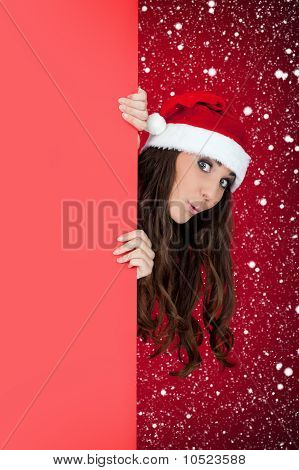 Funny Santa Girl, Blank Billboard And Snow