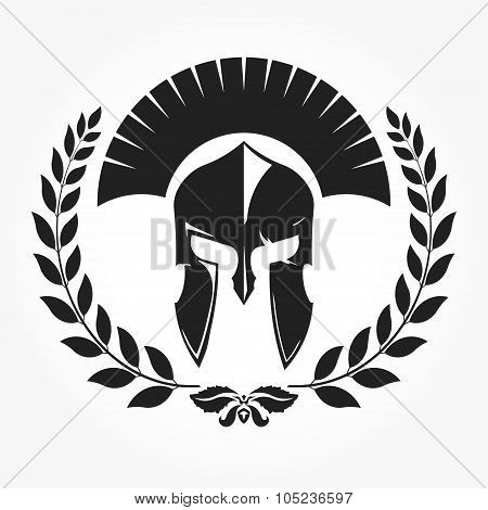 Gladiator, knight icon with laurel wreath