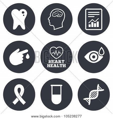 Medicine, medical health and diagnosis icons.