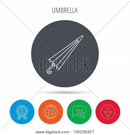 Umbrella icon. Water protection sign.