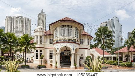 KUALA LUMPUR, MALAYSIA - JULY 06, 2009: View on Malaysia Tourism Centre (MaTiC). It is architectural and historical landmark of Kuala Lumpur. Built in 1935. Panoramic montage from 5 images.