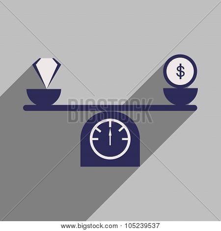 Flat design modern vector illustration icon diamond scales Money