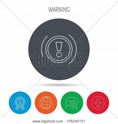 Warning icon. Dashboard sign.
