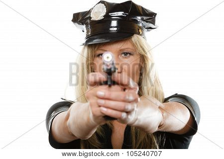 Policewoman Cop With Gun