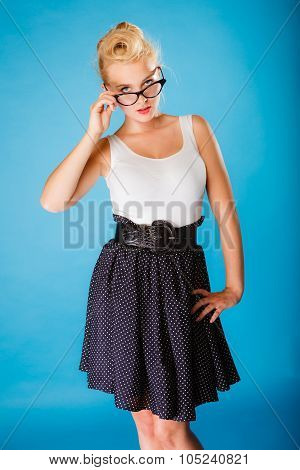 Retro Pin Up Woman Wearing Eyeglasses.