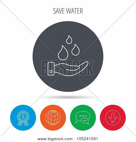 Save water icon. Hand with water drops sign.