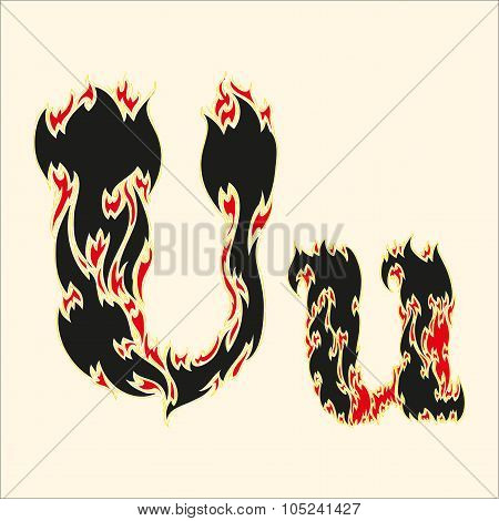 Fiery font Letter U Illustration on white background