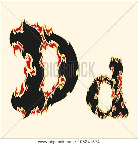 Fiery font Letter D Illustration on white background