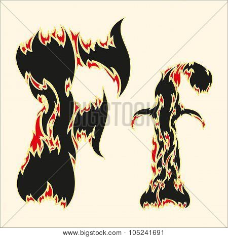 Fiery font Letter F Illustration on white background