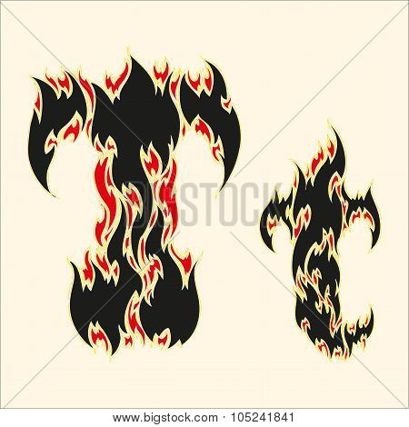 Fiery font Letter T Illustration on white background
