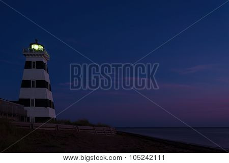 West Point Lighthouse At Dusk