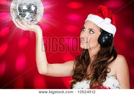 Sexy Girl With Santa Hat And Shiny Disco Ball
