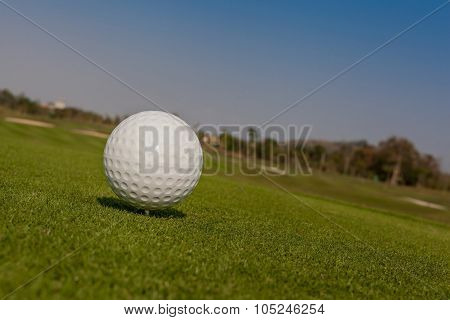 Golf Ball On Tee Off Zone With Golf Course Background.