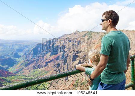 Family Hiking At Kauai