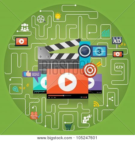 Video Marketing Advertising Concept Background