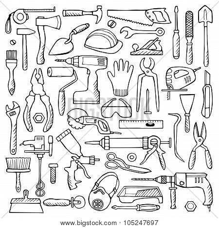 Hand drawn doodle set with repair tools