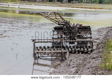 tractors in the muddy paddy