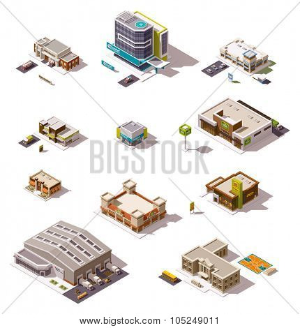 Set of the different isometric buildings