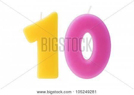 Colorful birthday candles in the form of the number ten on white background