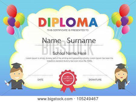 Preschool Kids Elementary School Diploma Certificate Design Template Background