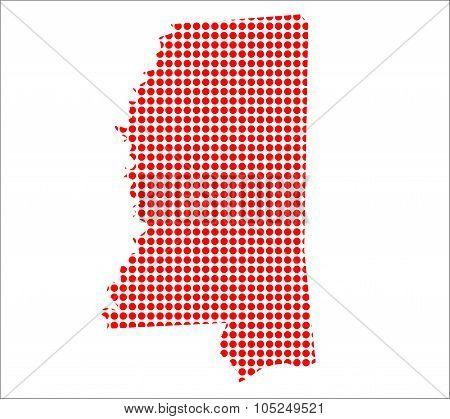 Red Dot Map Of Mississippi