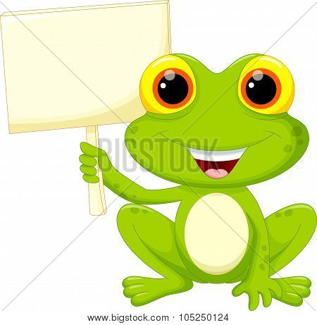 Cute frog cartoon with signboard