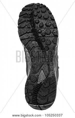 sole hiking boots on a white background