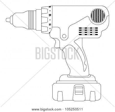 Electric drill. Contour