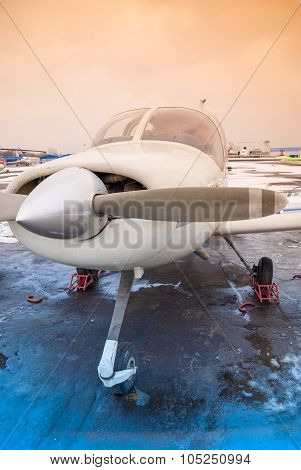 A Private Plane Is At The Airport At Non-flying Weather, Winter