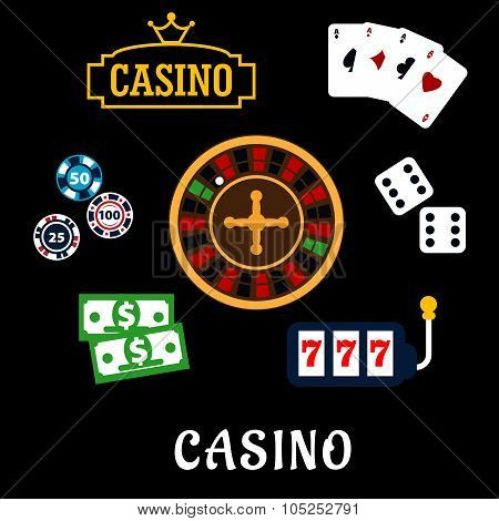 Casino flat icons with gambling symbols