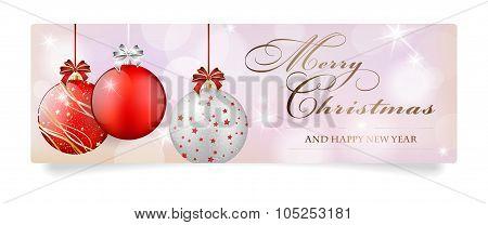 Christmas Card With Red Shiny Christmas Balls